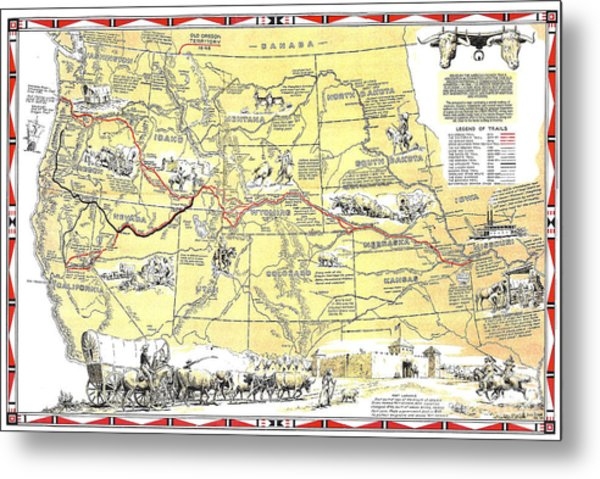 Historic Pioneer Trails Map 1843-1866 Metal Print