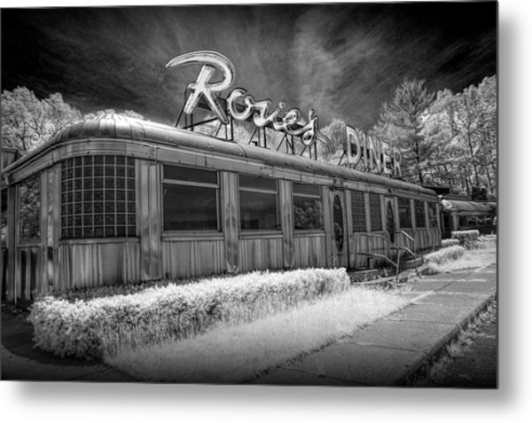 Historic Rosie's Diner In Black And White Infrared Metal Print