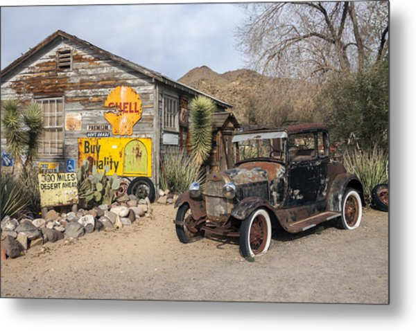 Historic Route 66 - Old Car And Shed Metal Print