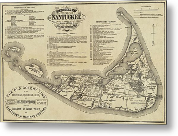 Historical Map Of Nantucket From 1602-1886 Metal Print