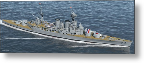 Hms Hood 1937 - Bow To Stern - Med Sea Metal Print by Christopher Snook