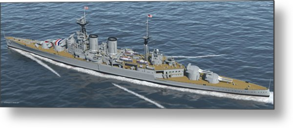 Hms Hood 1937 - Stern To Bow - Med Sea Metal Print by Christopher Snook