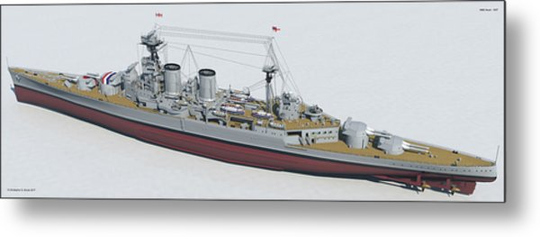 Hms Hood 1937 - Stern To Bow Tech Metal Print by Christopher Snook