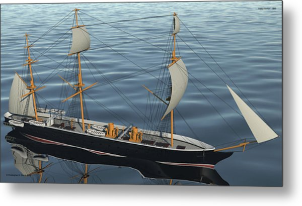 Hms Warrior 1860 - Bow To Stern Ocean Metal Print by Christopher Snook