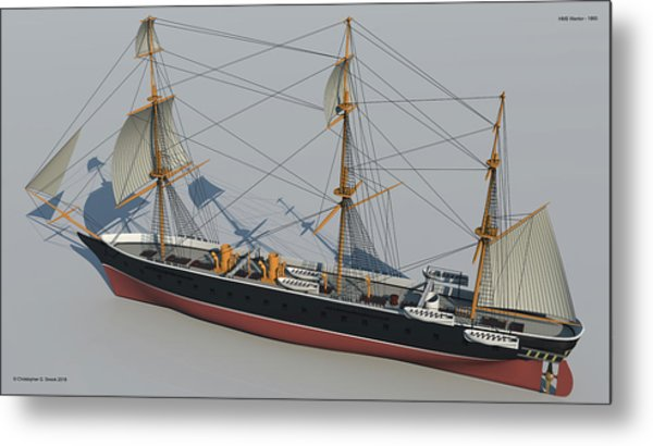Hms Warrior 1860 - Stern To Bow Technical Metal Print by Christopher Snook