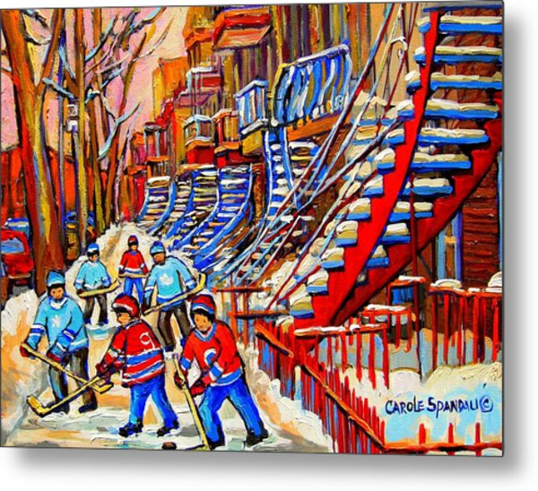 Hockey Game Near The Red Staircase Metal Print