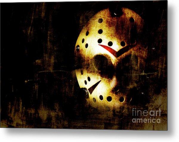Hockey Mask Horror Metal Print