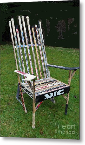 Hockey Stick Chair Metal Print