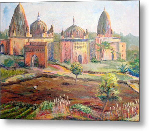 Hoeing By Hand In Orchha India Metal Print