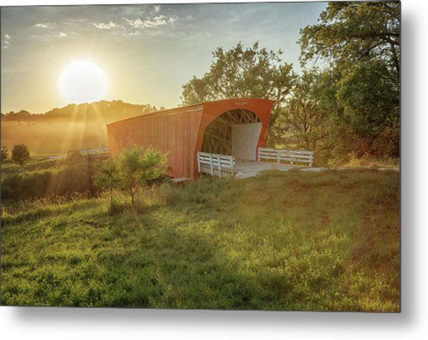 Metal Print featuring the photograph Hogback Covered Bridge 2 by Susan Rissi Tregoning