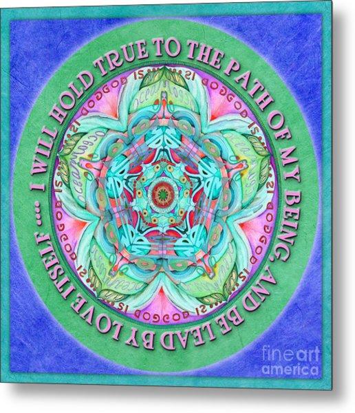 Hold True Mandala Prayer Metal Print