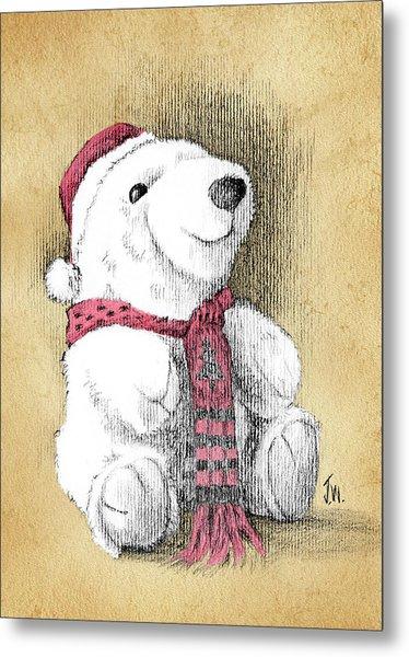 Metal Print featuring the drawing Holiday Bear Card by Joe Winkler