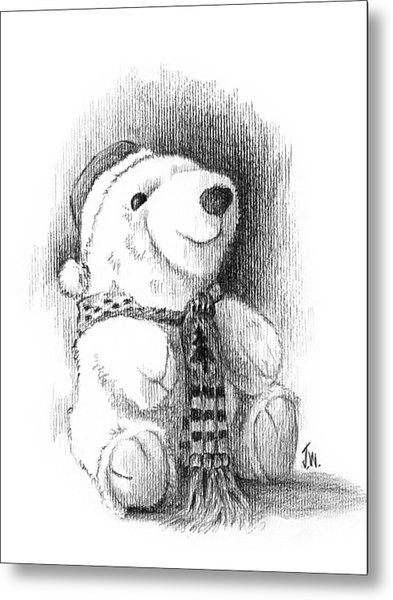 Metal Print featuring the drawing Holiday Bear by Joe Winkler