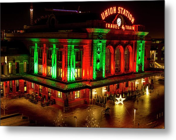 Holiday Lights At Union Station Denver Metal Print