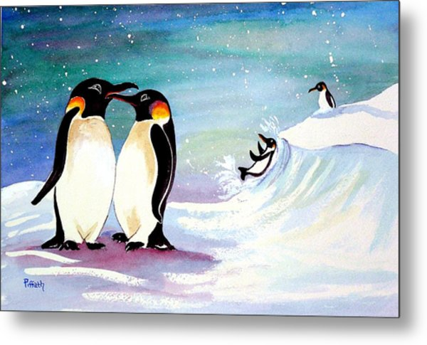 Holiday Penguins Metal Print