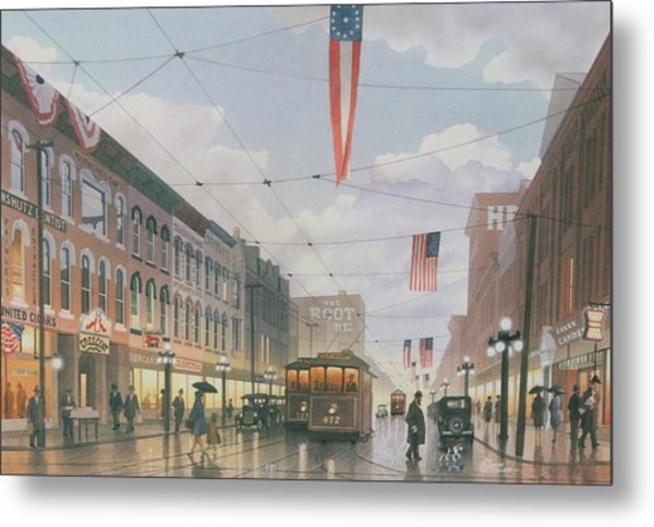 Holiday Shoppers Metal Print
