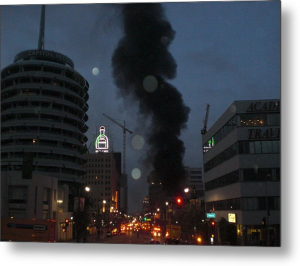 Hollywood Is Burning Metal Print by Roman Lezo