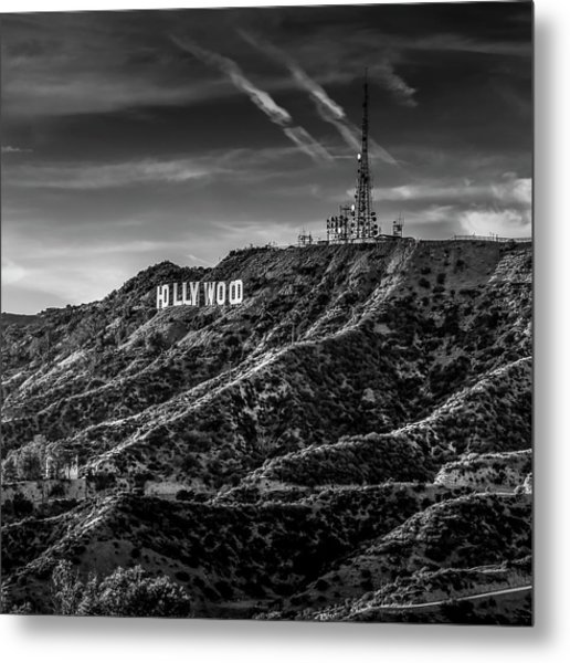 Hollywood Sign - Black And White Metal Print