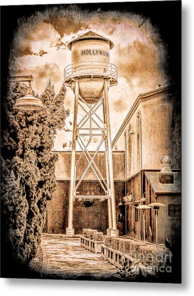 Hollywood Water Tower Metal Print