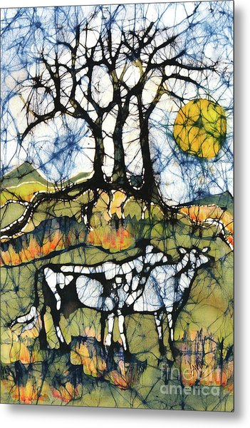 Holsiein Cows Below Autumn Trees Metal Print