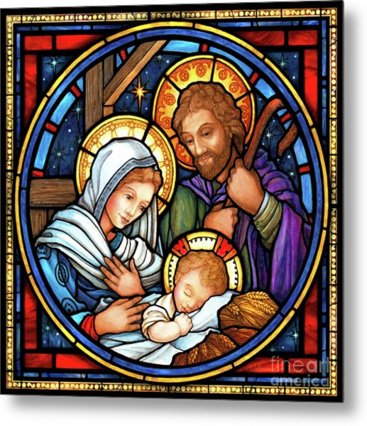 Holy Family Stained Glass Metal Print