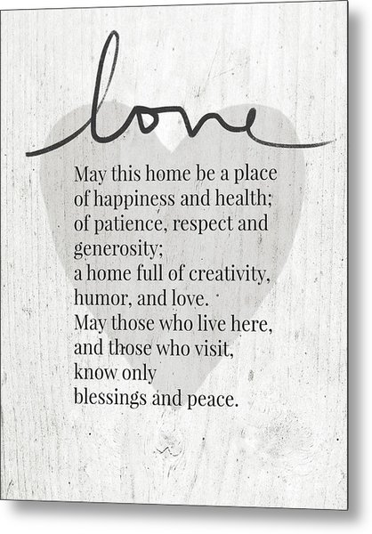 Home Blessing Rustic- Art By Linda Woods Metal Print