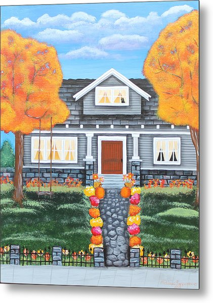 Home Sweet Home - Comes Autumn Metal Print