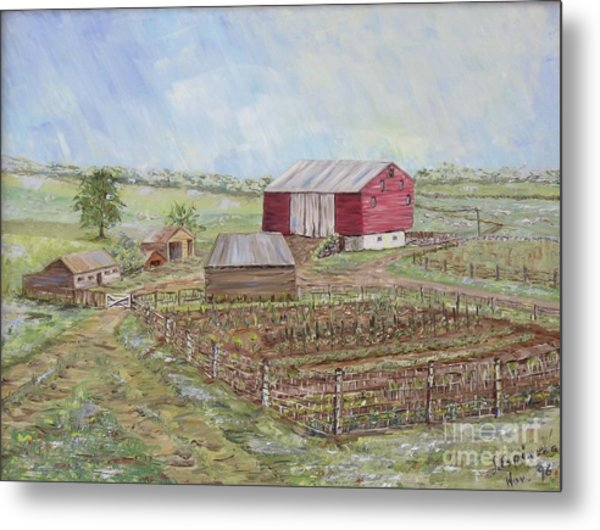 Homeplace - The Barn And Vegetable Garden Metal Print by Judith Espinoza