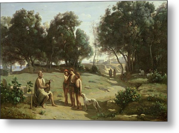 Homer And The Shepherds In A Landscape Metal Print