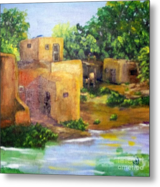 Metal Print featuring the painting Hometown by Saundra Johnson