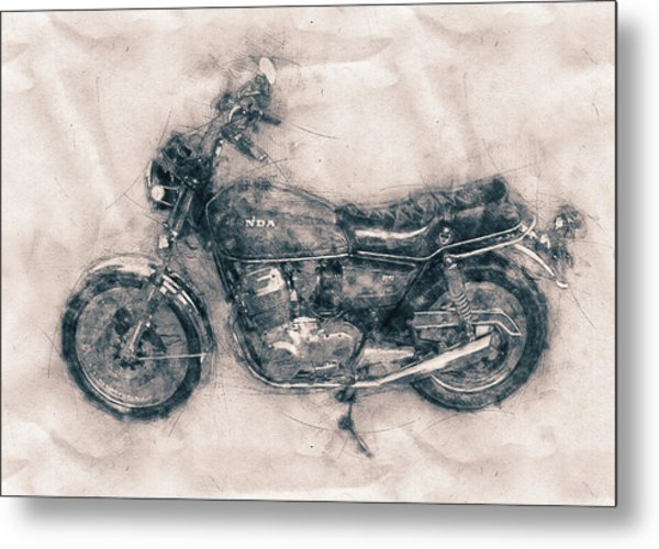 Honda Cb750 - Superbike - 1969 - Motorcycle Poster - Automotive Art Metal Print
