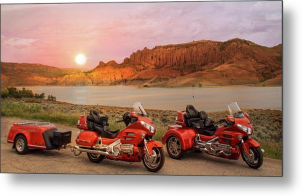 Honda Goldwing Bike Trike And Trailer Metal Print