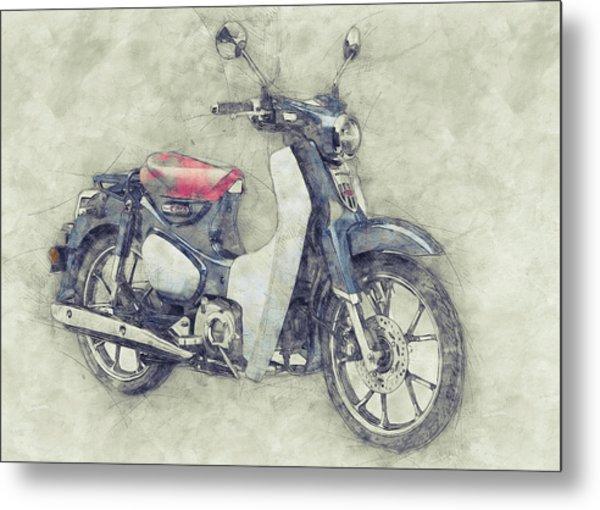 Honda Super Cub 1 - Motor Scooters - 1958 - Motorcycle Poster - Automotive Art Metal Print