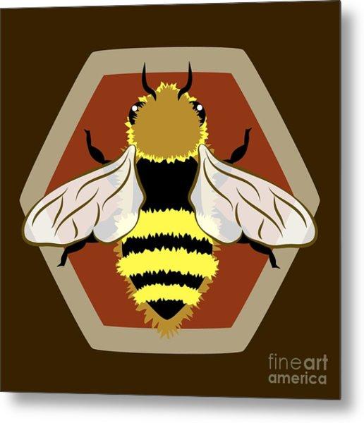 Honey Bee Graphic Metal Print