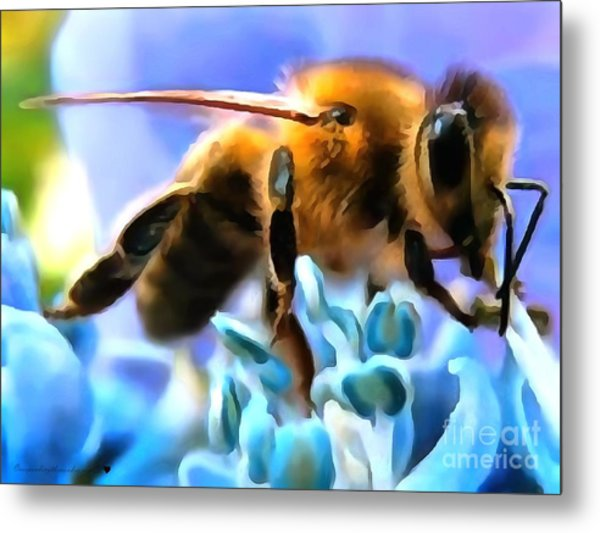 Honey Bee In Interior Design Thick Paint Metal Print
