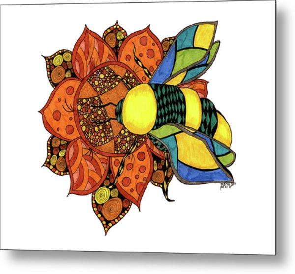 Honeybee On A Flower Metal Print
