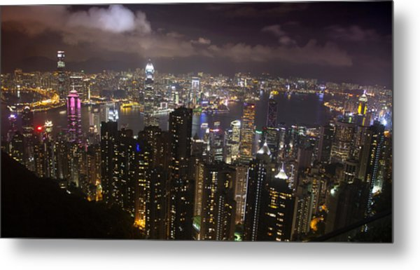 Hong Kong At Night Metal Print