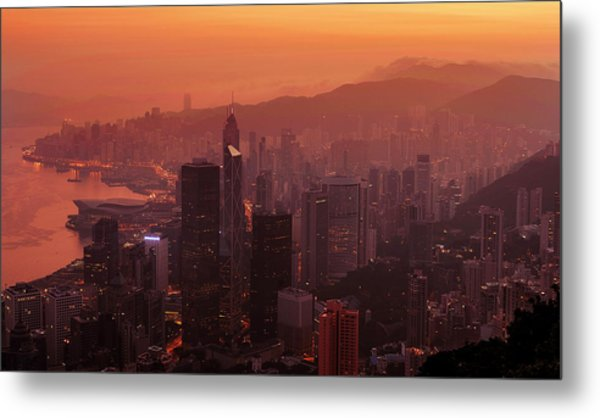 Metal Print featuring the photograph Hong Kong City View From Victoria Peak by Pradeep Raja Prints