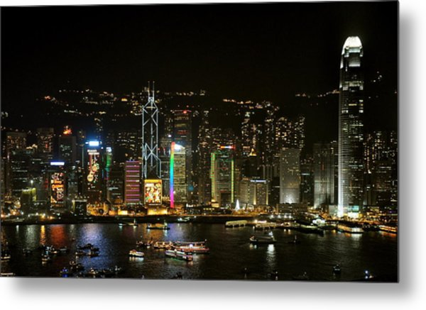 Hong Kong On A December Night Metal Print