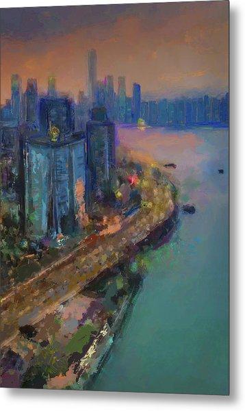 Hong Kong Skyline Painting Metal Print