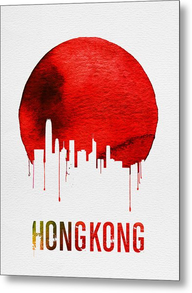 Hong Kong Skyline Red Metal Print