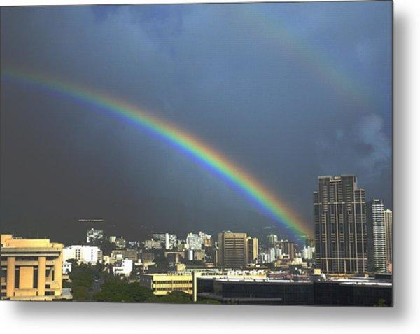 Honolulu Rainbow Metal Print