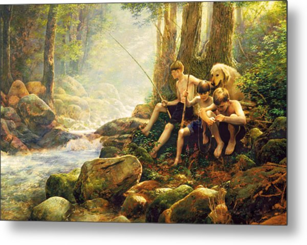 Metal Print featuring the painting Hook Line And Summer by Greg Olsen