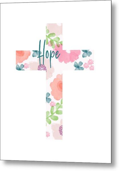 Hope Floral Cross- Art By Linda Woods Metal Print