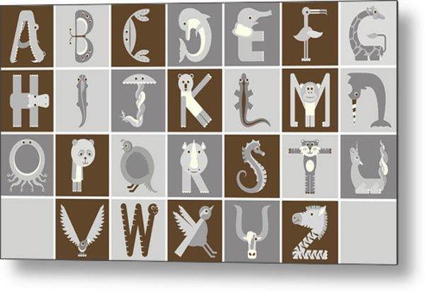 Horizontal Neutral Animal Alphabet Complete Poster Metal Print