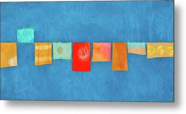 Horizontal String Of Colorful Prayer Flags 1 Metal Print