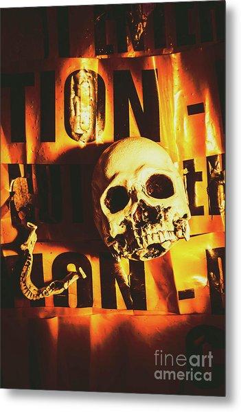 Horror Skulls And Warning Tape Metal Print