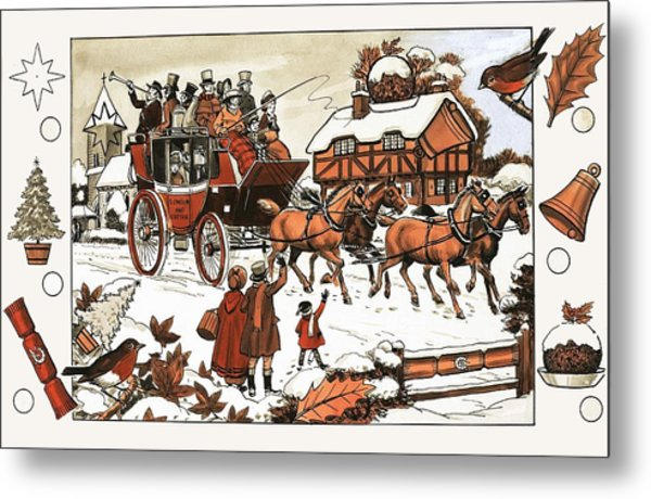 Horse And Carriage In The Snow Metal Print