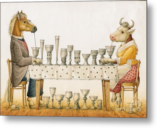 Horse And Cow Metal Print by Kestutis Kasparavicius