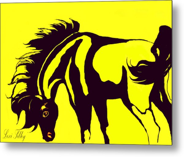 Horse-black And Yellow Metal Print